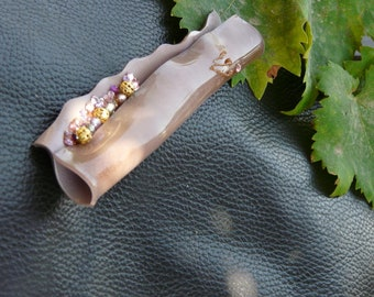 mezuzah -  unique- emotion,  rhinetones and pearls - heartmolded and handpainted