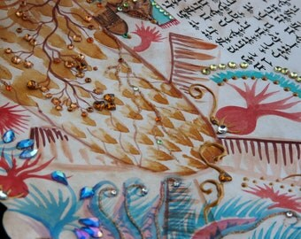 ketubah-handscribbed and hand painted on parchment -watercolor and cristals