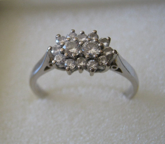 Wedding or Anniversary White Gold Genuine Diamond Ring