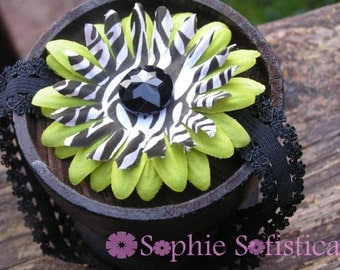 Zebra Daisy Headband  - Available in Green, Purple, Turquoise & Hot Pink - CLEARANCE