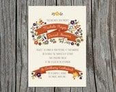 Custom, Printable Wedding Invitation & Response Card- Floral n Fall