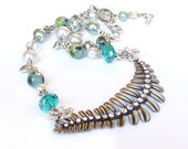 Silver leaf beaded necklace mint aqua grey handmade