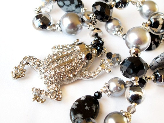 Silver frog crystal beaded necklace handmade