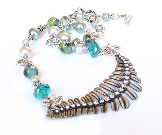 Silver leaf beaded necklace mint aqua grey handmade