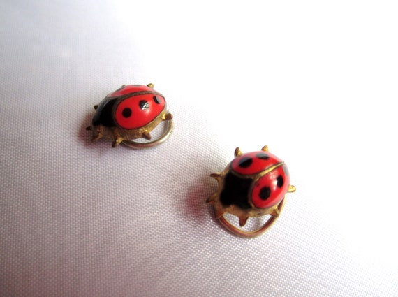 Victorian Ladybird Pin Brooches 1900s Vintage