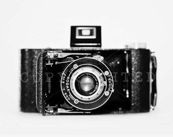 vintage black and white camera print