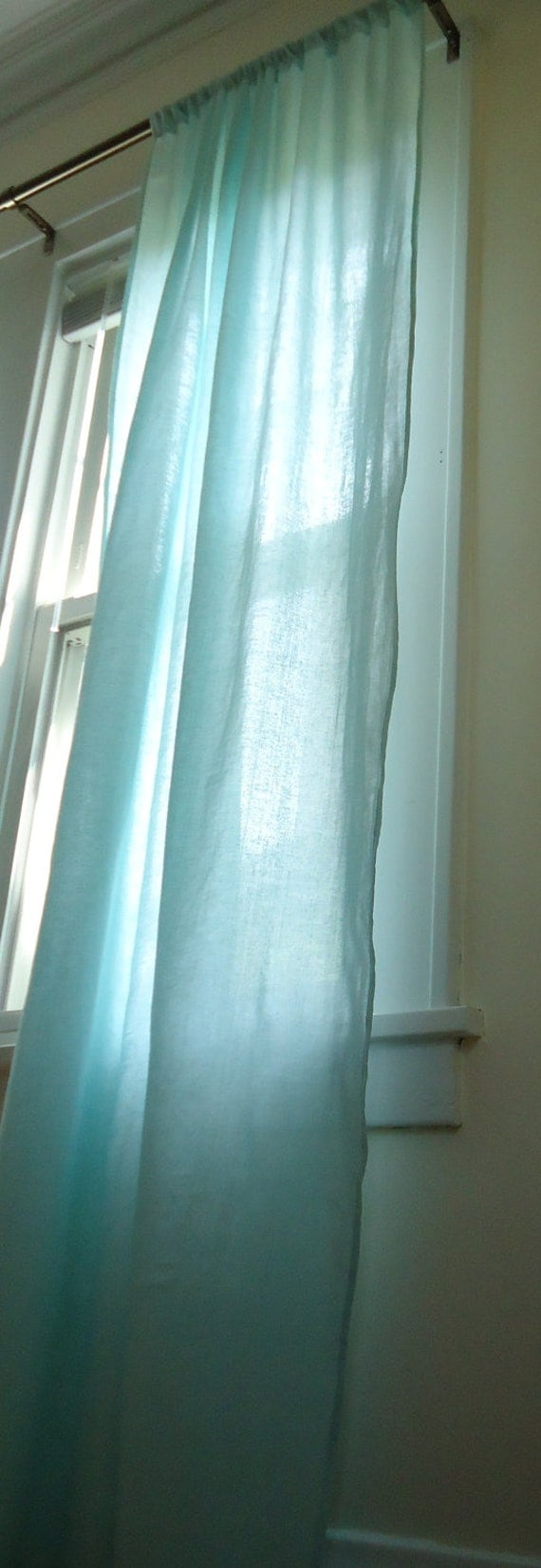 long curtain panel light aqua blue linen by asterblue on etsy