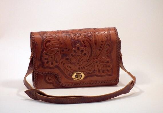 Vintage Handtooled  Purse Leather Reversable Western Handbag Satchel