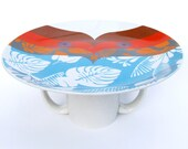 Cake plate upcycled turquoise leaves print and orange tableware pedestal cup