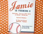 DIY PRINTABLE Invitation Card -  Sport Baseball Navy Orange Birthday Party Invitation - PS804CA2a1