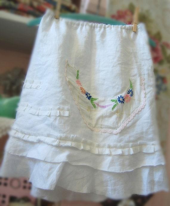 Linen Skirt White Womens Vintage Shabby Chic Clothing SALE Small Woodland Bridal Bohemian Tattered Edges Upcycled Altered Clothing