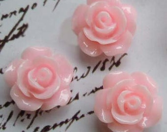 10 pcs 10 mm  High-quality Resin flowers , beads Cabochon Necklaces,rings,earrings,Pendant Charm craft jewelry by sunshinepark99-pink