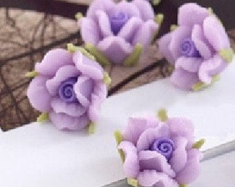6 pcs 13 mm Polymer Clay  Flower Beads FIMO Pendant Charm craft jewelry Necklaces Earrings Bracelet Accessories-purple