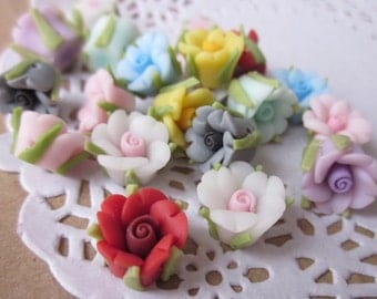 20 pcs 10 mm Mixed Color Polymer Clay Flower Beads, FIMO Pendant, Charm craft jewelry, Necklaces Earrings Bracelet Accessories