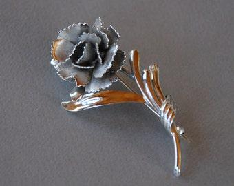 Vintage Sterling Silver Rose Brooch Signed Carl Art Mad Men Mid Century 1960's // Vintage Designer Fine Jewelry