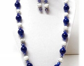 Winter Snow Blue and White Glass Bead and Crystal Necklace