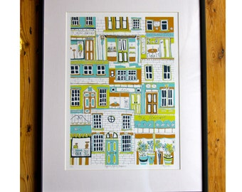 Higgledy Piggledy Shopfronts screen print - limited edition print by Jessica Hogarth Designs