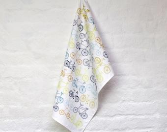 Take the Bike tea towel - stylish kitchen textiles. 100% cotton tea towel. kitchen dishcloth - designed and printed in the UK.