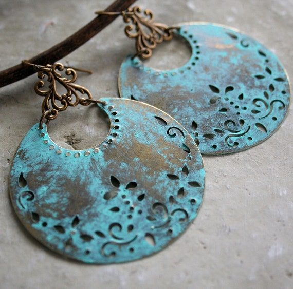 From the Gilded Dragonfly -GYPSY DANCE- boho bohemian earrings with patina aged crescent shapes