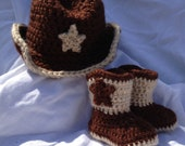 Crochet Baby Boy/ GirlBrown Cowboy Hat and Bootie set