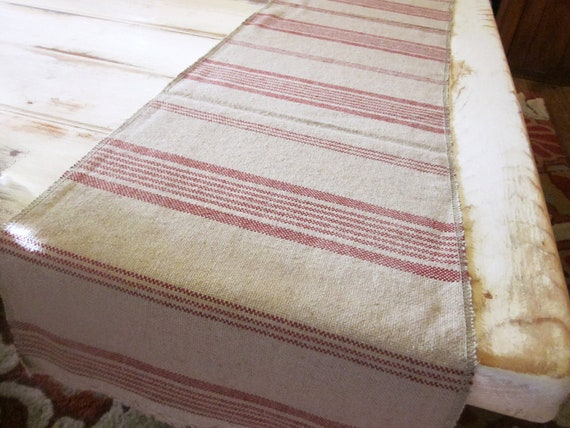 Table runner, woven cotton , tan and red stripes, farmhouse decor, shabby chic, bureau cloth, holiday runner