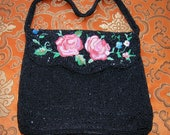 Vintage 1950's Beaded Black Evening Bag French Tambour Pink Rose Blue Blossom Floral Embroidery Faceted and Seed Beads