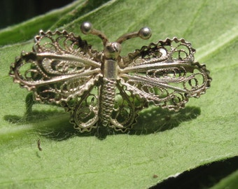 Silver Filigree Butterfly Pin