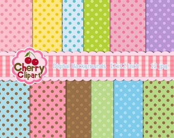 Party Dots Digital Papers Pack  for Card Design, Scrapbooking, and Web Design