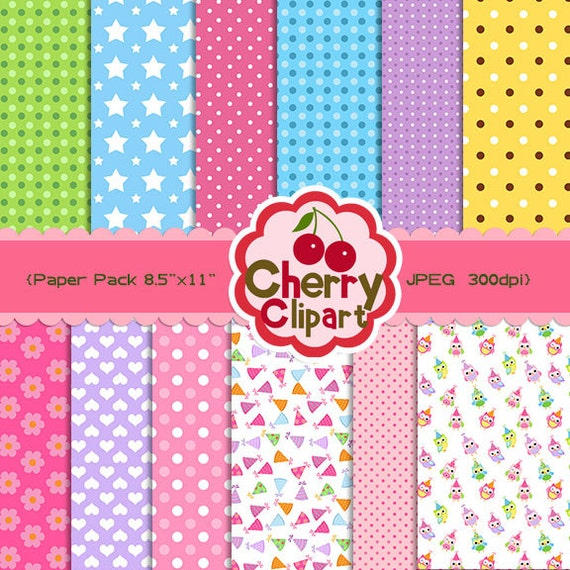 Birthday owls Digital Papers Pack for Card Design, Scrapbooking, and Web Design