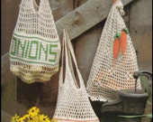 No.231 Crochet Pattern Vintage PDF - Mesh Produce Market Bags - Potatoes, Onions & Carrots - Retro Crochet Pattern - Food - Instant Download