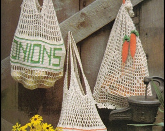 No.231 Crochet Pattern Vintage PDF - Mesh Produce Market Bags - Potatoes, Onions & Carrots - Retro Crochet Pattern - Food - Instant Download