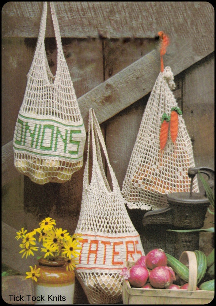 Crochet Mesh Bag Pattern : No.231 Crochet Pattern Vintage PDF Mesh Produce by TickTockKnits
