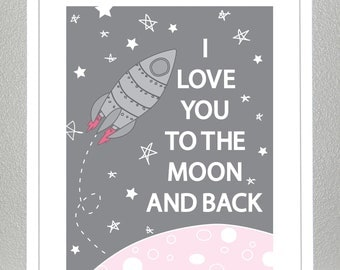 Love you to the moon and back- (Pink Version) 8x10