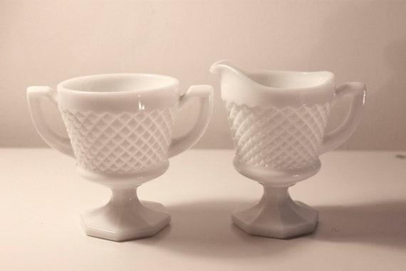 Vintage Hobnail Milk Glass Cream and Sugar Set