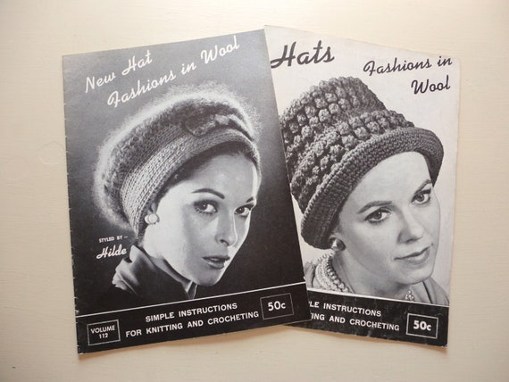 SALE :) pair of 1960's hat fashions in wool knitting and crochet books