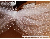 """Veil Lace Mesh with White dots Fabric Gauze 55"""" wide 0.55 yds for headwear .."""