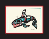Tlingit Northwest Native American, Killer Whale - 8 X 10 Matted Art Card