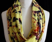 """Hand Dyed Circular Scarf, Chartreuse """"Cosmic Lava"""" Pattern"""