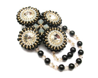 Brooch, Beaded Black Gold with Swarovski Crystals & Pearls, Art Deco Handbeaded Brooch