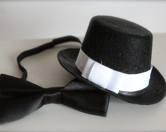 Mini Fedora Top Hat and little Black Bow Tie Set - Perfect Newborn Baby Boy Photography Prop