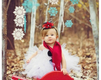 Frosty the Snowman Tutu Dress,Top Hat Headband and Red Scarf Set - Extended Size 3t-4t