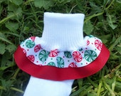 Ruffle Christmas socks - Peppermint Candy and Red