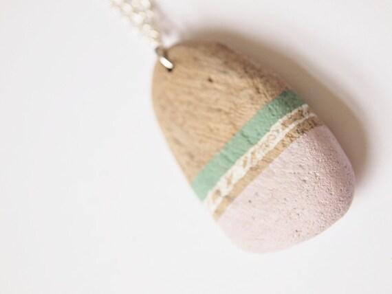 Romantic Driftwood Necklace - Dusky Pink & Aqua patterns