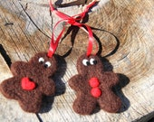 Needle felted Gingerbread Couple.