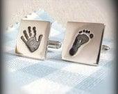 Personalised Hand Foot Or Paw Print Fingerprint Jewellery Cufflinks, Fingerprint Jewelry