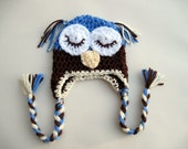 Crochet Owl Hat -- baby sizes -- choose your colors