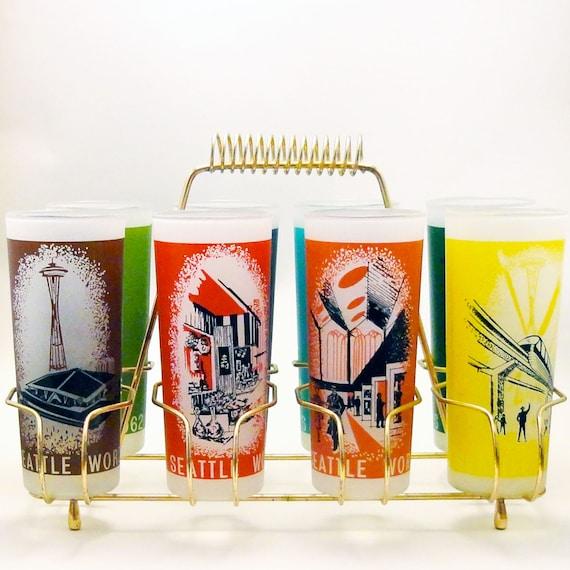 Vintage Eyeglass Frames Seattle : Vintage Glasses Set and Caddy 1962 Seattle Worlds Fair