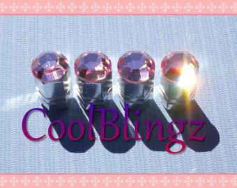 XL BABY PINK Crystal Bling Rhinestone Tire Valve Stem Caps Covers made w/ Swarovski Elements