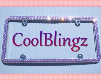 2 Row LAVENDER LT. PURPLE Rhinestone Crystal Diamond Bling License Plate Frame