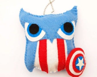 Captain America Felt Plush Owl